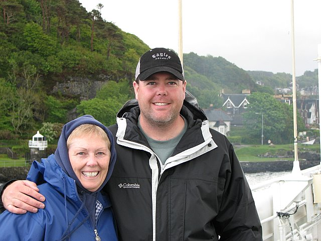 My Mom and Myself aboard the Grigoriy Mikheev, leaving Oban for the start of our Wild Scotland Adventure.