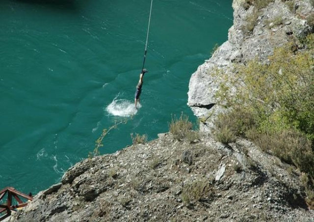 A picture of myself taking the plunge off the original bungee jump site in Queenstown New Zealand.