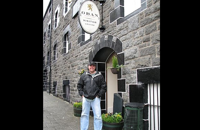The entrance to the Oban whiskey distillery in Scotland.