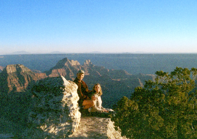 Roger and I watching the sunset at the Grand Canyon.