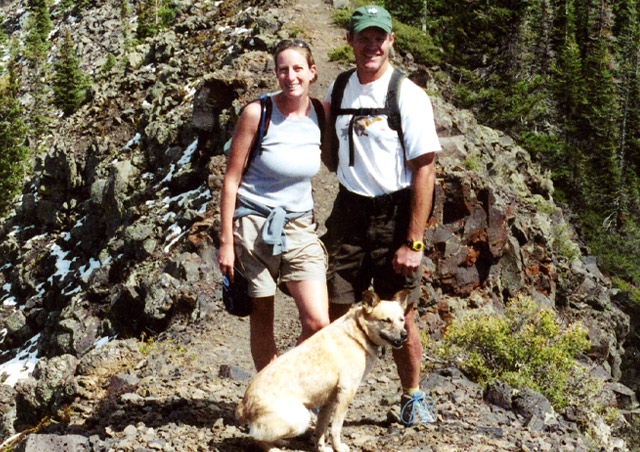 Hiking with Roger and Pinto on the Grand Mesa in western Colorado.
