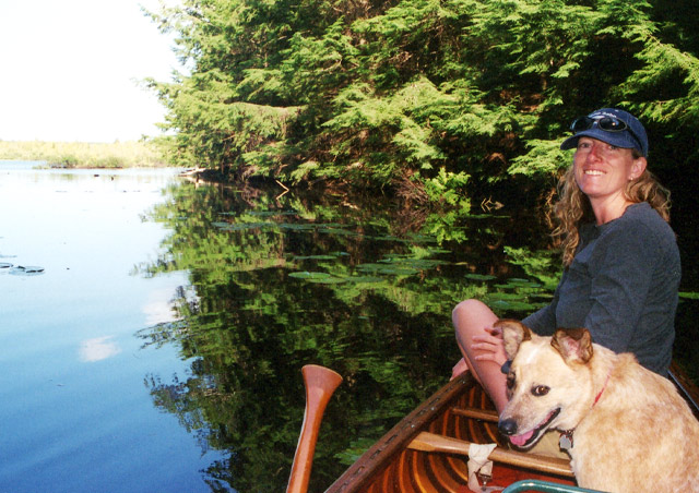 Canoeing with Pinto in Michigan. It took him awhile to figure out why one would want to be so close to the water and not be in it!