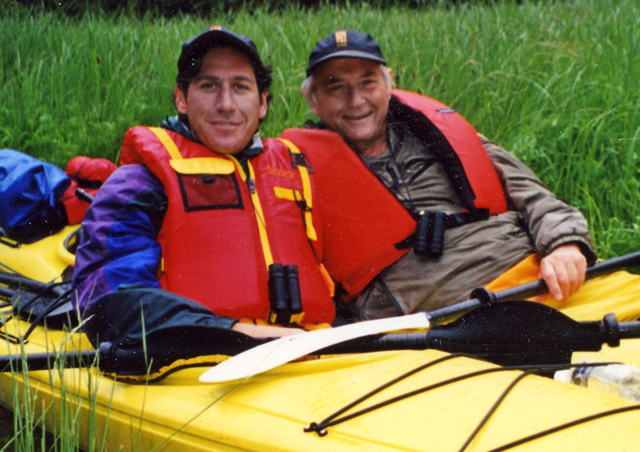 The Old Man even comes along. Here Ben and his father are kayaking off British Columbia's Queen Charlotte Islands.