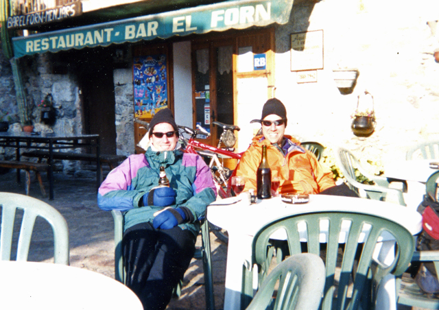 Along with nature expeditions, Ben enjoys bicycle touring. Here, he and his brother Ken cross the Pyrenees (in November) and stop for a beer and wine (or two).
