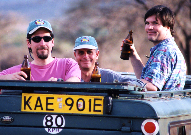 In Kenya in 1996, Ben and some buddies take a wildlife viewing break.