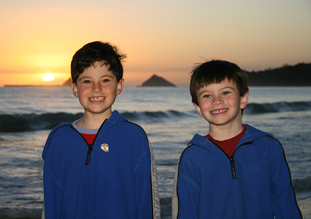 In February each year, my in-laws rent a house in Hawaii on the beach. Here are Dirk (age 9) and Kyle (age 6) on the first early morning on the beach.