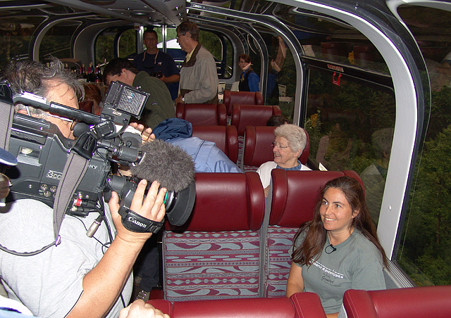 On my Alaska trip a few years ago, there was a film crew on board making a documentary on dome cars. They filmed me for a bit and wound up using my segment. It appeared for 6 months on every Frontier Airlines flight. I felt like a celebrity.