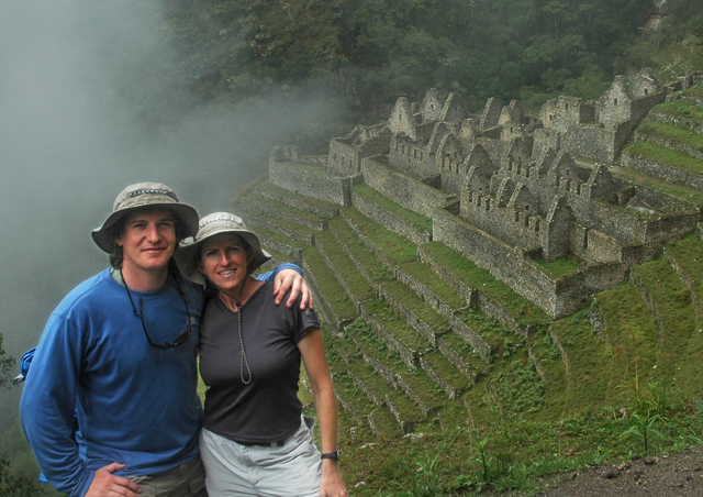 Nicole & I at Wiñay Wayna, scouting the location for Led Zeppelin's Houses of the Holy 2. Peru.