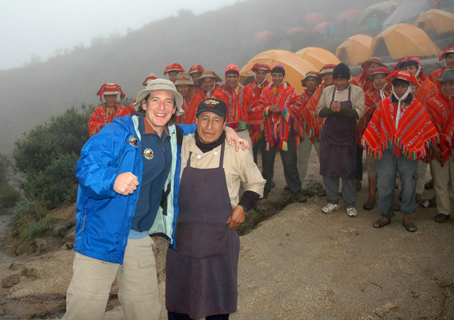 "Chuck and lead chef on the Inca Trail. ""Thanks for the grub broseph!"" Peru."