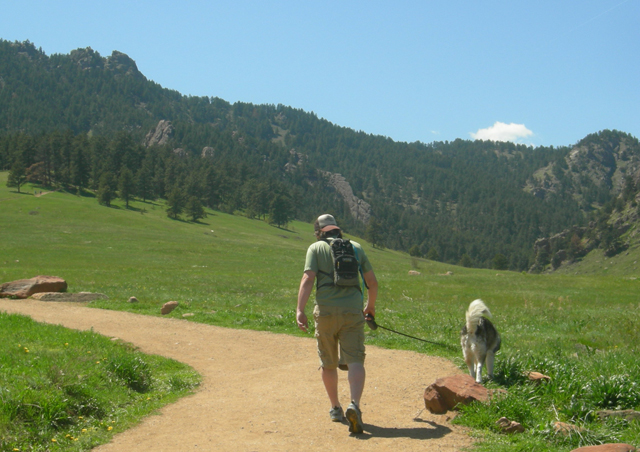 Scout and Chuck at Chautauqua. Boulder.
