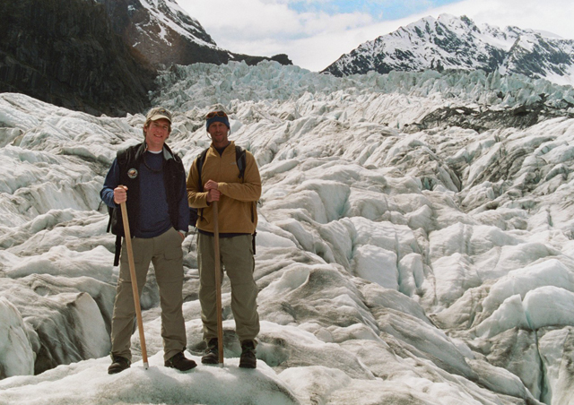 'Greg, those boots look sweet.' Courter and I on St Joseph's glacier. New Zealand.