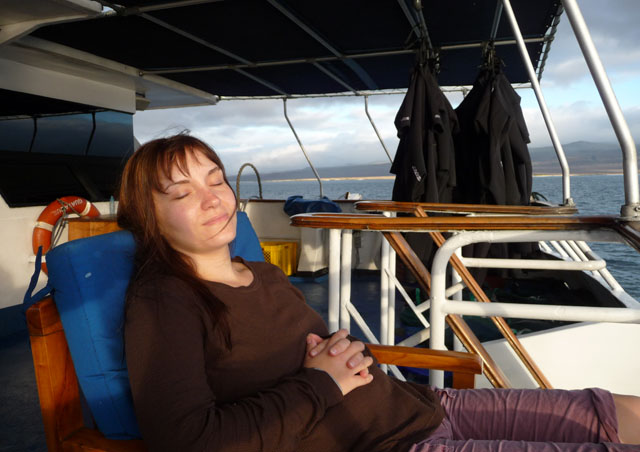 Here's Julia taking a moment to relax between shore landings on the observation deck of the Letty.