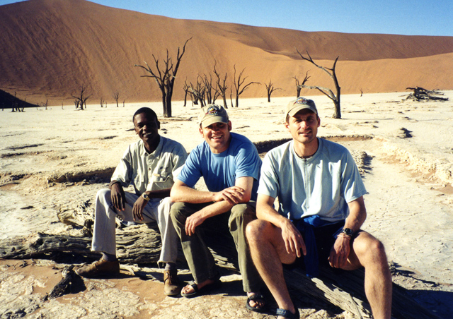 Here we are taking a brief rest in the Dead Vlei, just before attempted to tackle Big Daddy – Namibia's highest sand dune.