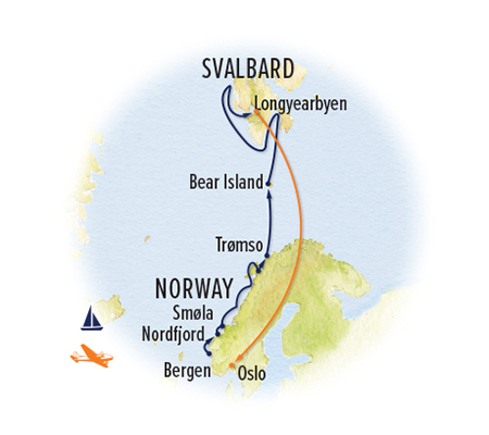 Norway Svalbard cruise map
