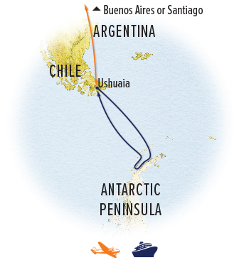 Antarctica expedition cruise map