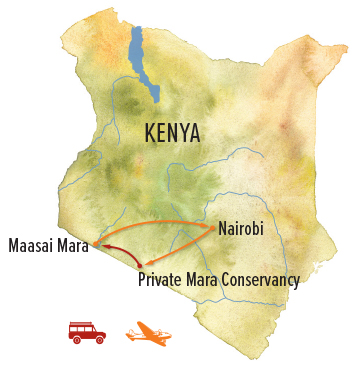 Kenya migration safari map