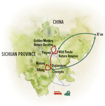 China nature tour map