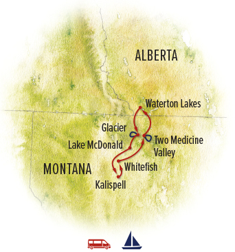Glacier and Waterton tour map